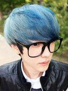 朴亨锡深蓝色挑染头发图片 蓝灰色+烟灰色[10P]