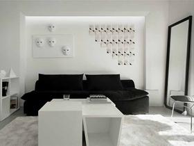 黑白极简主义风格两居室装修案例