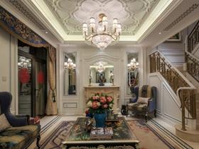 浪漫米色美式风格客厅吊顶图片欣赏