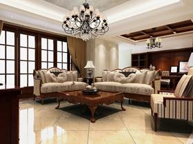米色欧式客厅吊顶效果图设计