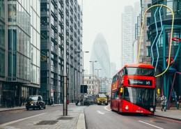 公路上的红色巴士图片_9张