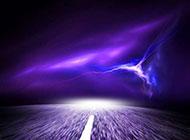 紫色的天空与道路高清背景图片
