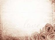 复古花朵边框淡雅背景图片