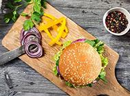 清爽的自助田园蔬菜汉堡图片