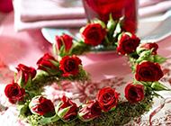 情人节浪漫红玫瑰花环图片