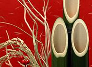 成熟的稻谷与绿竹赋有年味的摄影图片