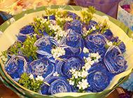 一大束美丽的蓝色玫瑰花
