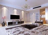 时尚美观四居室客厅电视墙效果图