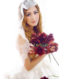 美女模特花色新娘唯美婚纱写真