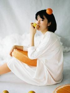 橙子少女雀斑妆可爱活泼可人