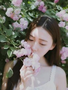 花丛中的文艺清新美女如花般容貌