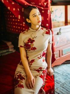 古典旗袍美女端庄文雅鲜艳养眼