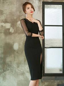 黑色长裙透明性感模特靓丽写真
