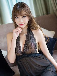 宅男女神sugar小甜心CC可爱性感透明黑色睡衣诱惑