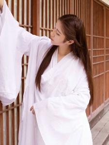 白衣汉服美女清丽纯净柔美
