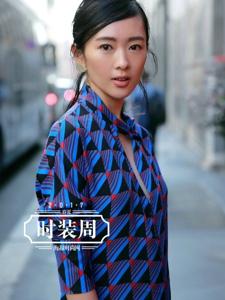 童瑶颜色清新的不规则蓝色短裙少女气息十足