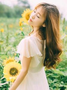 向日葵花海中的翩翩美少女明媚靓丽