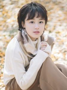 郊外落叶丛中的格子围巾短发森系姑娘