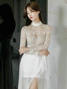 蕾丝飘逸长裙美模仙气十足清纯柔美气质佳