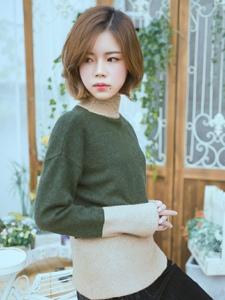 韩系短发美女私房秀丽忧郁写真