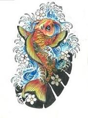 几款锦鲤纹身图案手稿素材