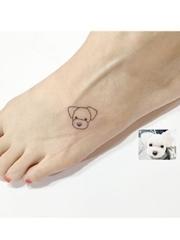 女生和自己的小清新超级小可爱宠物纹身图案