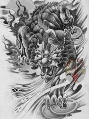 一款霸气的招财貔貅纹身图案