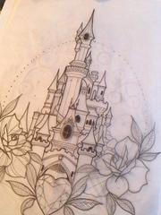 简约风格城堡纹身图案手稿素材