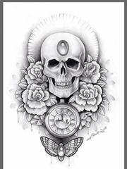 多款黑灰色骷髅头和玫瑰花纹身图案手稿素材