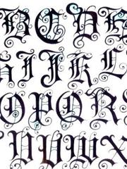 一张花体英文字纹身图片手稿素材