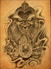 一张魔幻的鬼形图案手稿