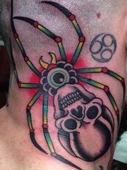 恐怖的骷髅蜘蛛纹身图案