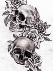黑灰色玫瑰花和骷髅头纹身图片手稿