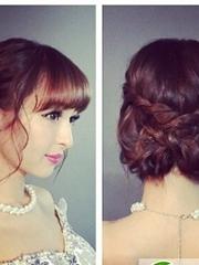 日式新娘盘发发型图片