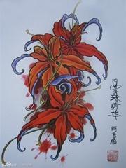 红色曼陀罗纹身手稿图案