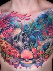 彩色的时尚个性纹身水墨画纹身图案
