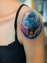手臂水彩星空大象和相机纹身图案