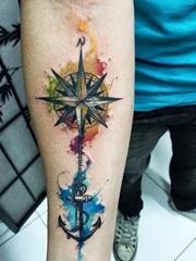 多款漂亮的指南针罗盘纹身图案
