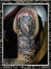 经典帅气的男生手臂死神纹身图案