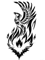 几款美丽的黑色凤凰部落图腾纹身图案手稿素材材,黑色,部落