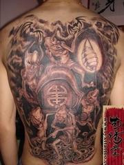 日本风格满背鬼纹身图片-艺秀堂作品