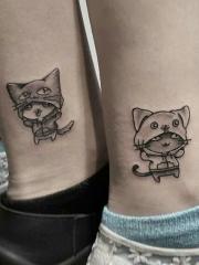 适合闺蜜和情侣的脚腕卡通猫纹身刺青