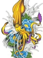 博浪章鱼刺青图片