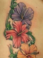 彩色花卉文身图案图片
