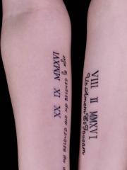 手臂英文数字情侣纹身图案很抢眼