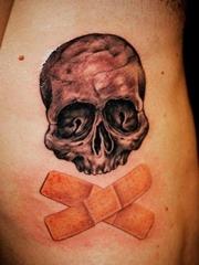潮流骷髅创口贴纹身图片