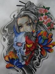 日系女子和般若手稿图案