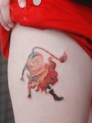 大腿部个性彩绘星空星座纹身图案