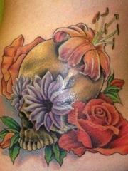 欧美超漂亮的玫瑰花 百合花纹身图案