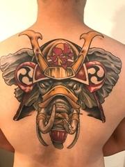 男子背上帅气的彩色战斗大象纹身图片